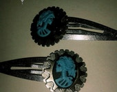 Gothic Steampunk Blue Skeleton Cameo Barrettes with Metal Gears