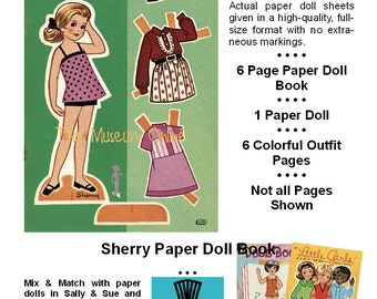 Vintage Paper Dolls _ SHERRY Paper Doll _ Vintage Fashion _ Paper Toy Paper Craft _ Collage Sheet PDF Digital Download + BONUS How-to Guide
