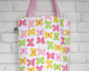 SALE Bright Girls Tote Bag with Butterfly Design