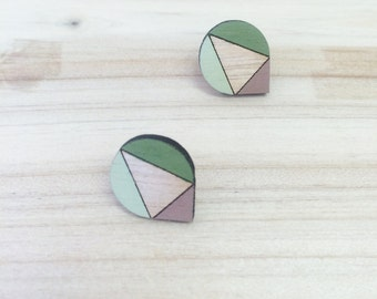 Hand Painted Laser Cut Wood Geometric Droplet Pattern Stud Earrings- Mocha, Pistachio and Green