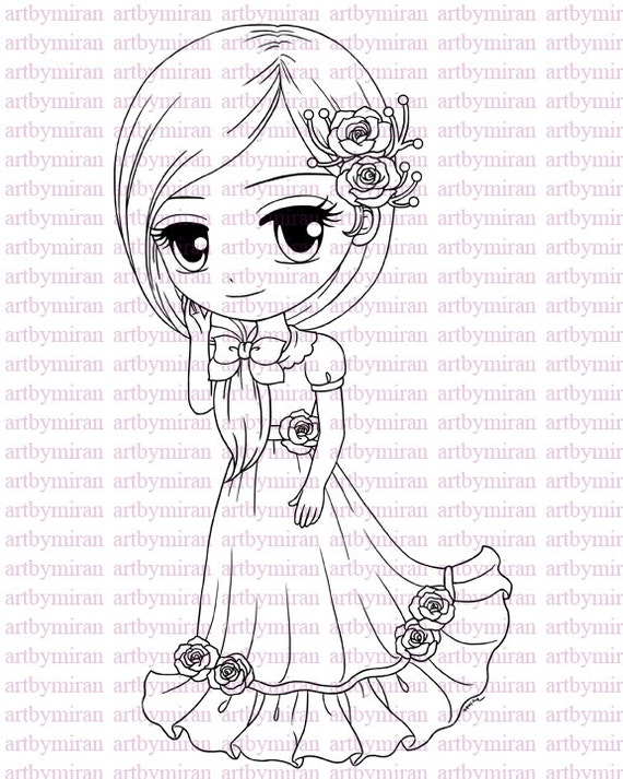 Digital Stamp-Rosalie, Digi Stamp, Coloring page, Printable Line art for Card and Craft Supply