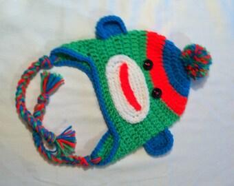 Newborn Sock Monkey Hat, Crochet Sock Monkey Hat, Newborn Handmade Crochet, Bright sock Monkey, Neon Sock Monkey, Sock Monkey Birthday Hat