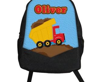 Custom Personalized DUMP TRUCK Construction Bulldozer Kids Boy Backpack tote School Camp Monogram