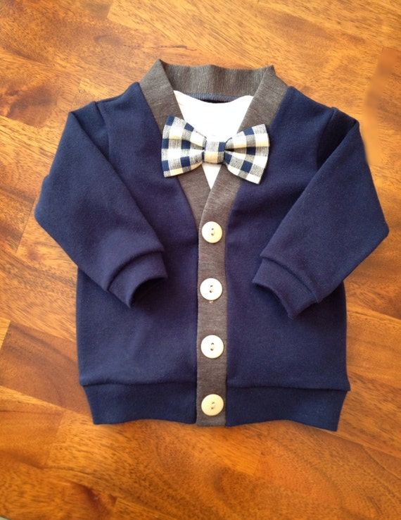 Navy cardigan bow tie set baby cardigan and plaid bow tie for Baby shirt and bow tie