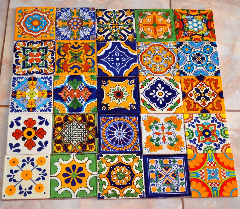 25 azulejos mexicanos pintados a mano 4x4 for Azulejos mexico