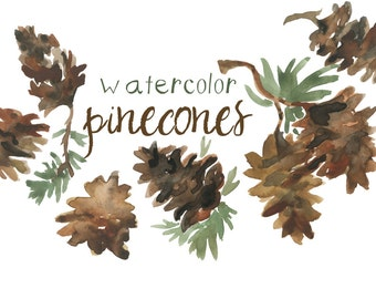 Watercolor Pinecone Clip Art for Scrapbooking Holiday Season Pine Cone Instant Download Fall Clipart Autumn Illustration Autumn Clipart