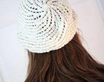 Stylish, Cozy Slouch Hat in Cream or Pink