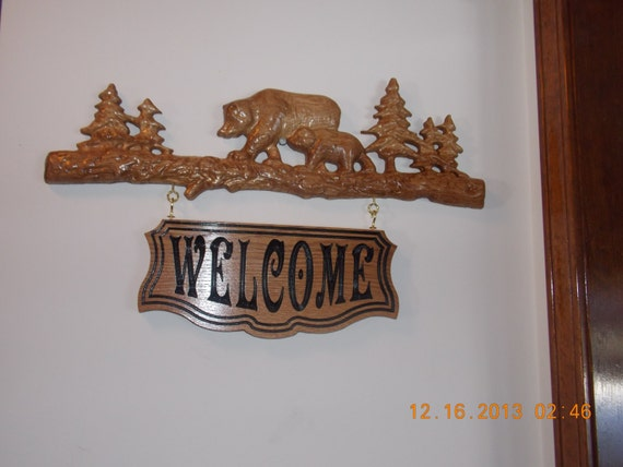 Bears on log welcome sign d relief by thewoodgraingallery