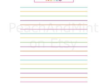 Printable Notes Page - printable organization PDF - Instant Download