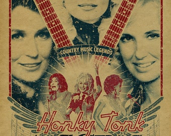 Honky Tonk Angels poster.  Dolly Parton. Loretta Lynn. Tammy Wynette. 12x18. Country Music. Kraft paper. Knoxville. Nashville. TN. Art.