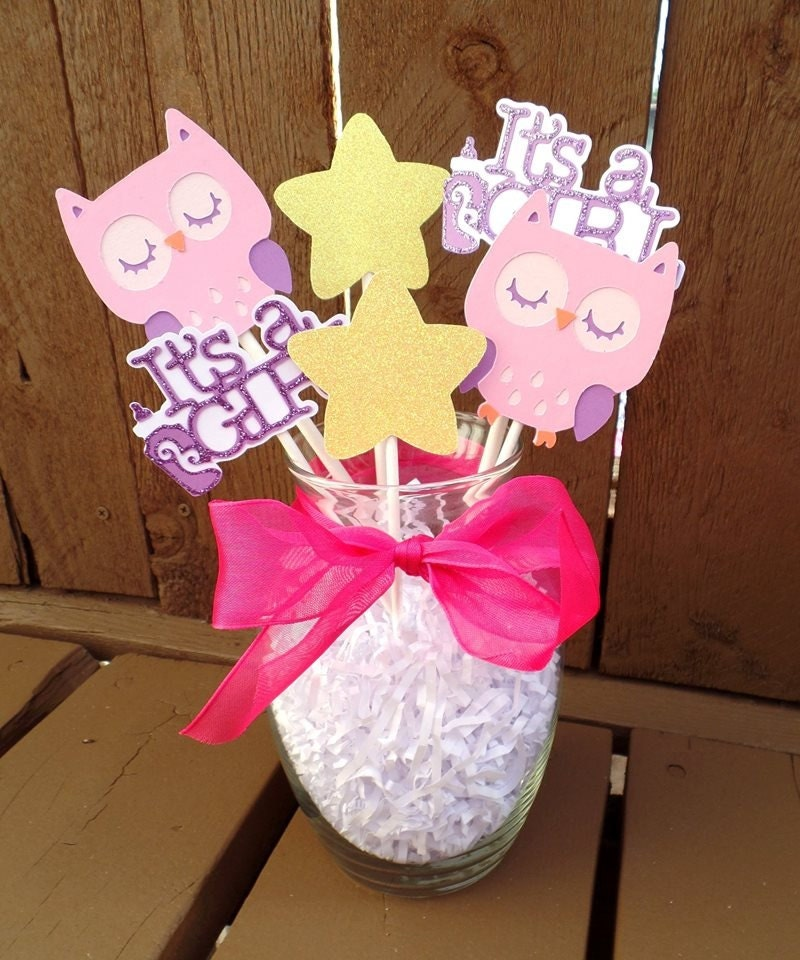 Baby shower decor for girl owl baby shower decor owl table - Girl owl decor ...