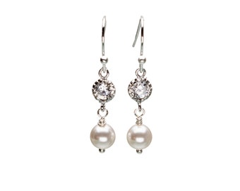 CZ and Pearl Earrings, Wedding Jewelry, Bride Earrings, Bridesmaid Jewelry, Bridal Party