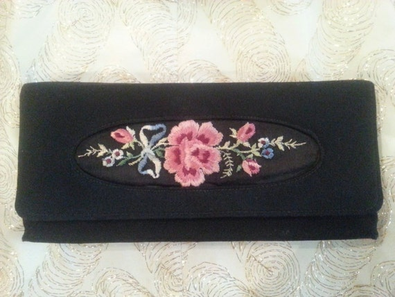 Black faille rose embroidered s clutch purse