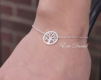 Sterling Silver Tree of Life Bracelet or Anklet, Eternity, Friendship, Infinity, Love, Friendship, Wife, Mother, Daughter, Personalized