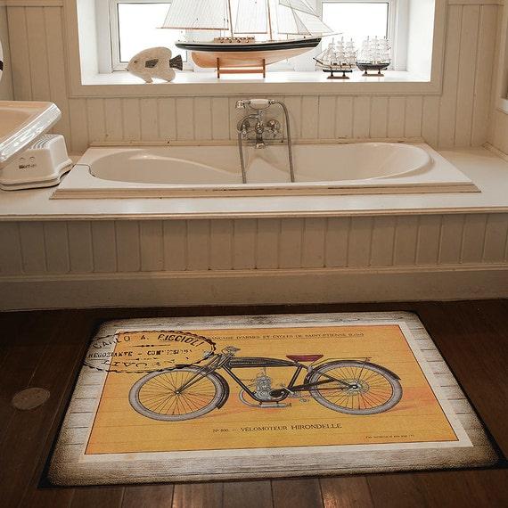 Yellow Kitchen Mats: Items Similar To Hirondelle Bike Rug, Yellow Bike Rug