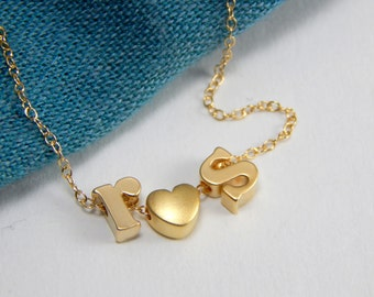 Initial heart necklace, gold initial necklace, lovers necklace, initial love necklace, lovers necklace, i love you necklace, i love u 149