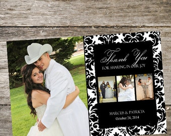 Wedding Thank You Card • Damask Thank You Card • Wedding Thank You Photo Card • DIY 4x6 Print Your Own