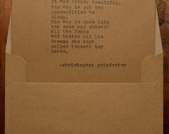 Christopher Poindexter quotes typed using Vintage Underwood Typewriter on Recycled Cardstock by Conscious Living