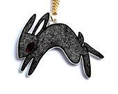 Black Rabbit Necklace - Rabbit Necklace - Gift Boxed