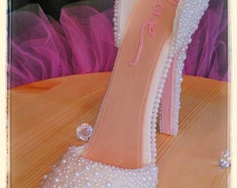 High Heel Pearl Bridal Cake Topper (sole color can be customized)