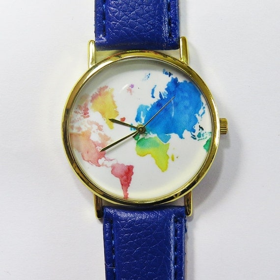 Colored Map Watch World Map watch Wrist Watch by FreeForme
