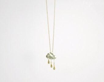 Cute raincloud necklace - Gold raincloud necklace for women - Cute jewelry for women - Cloud necklace in gold
