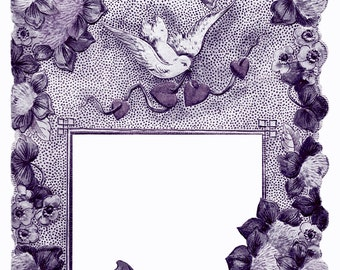 Antique INDIGO Purple Floral CARD FRAME with clover dove hearts-  Instant Digital download
