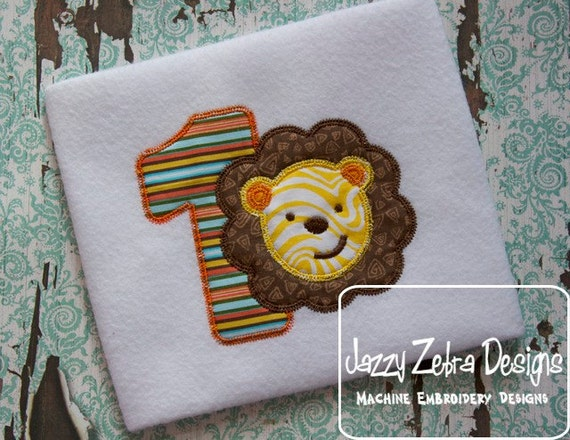 One Lion Appliqué embroidery Design with Diagonal Square Stitching - 1st birthday appliqué design - one year old