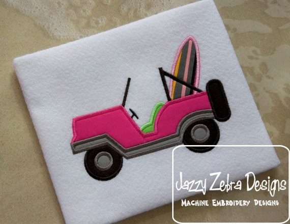Jeep with Surf Board Appliqué embroidery design - car appliqué design - jeep appliqué design - surf board appliqué design - surfing appliqué