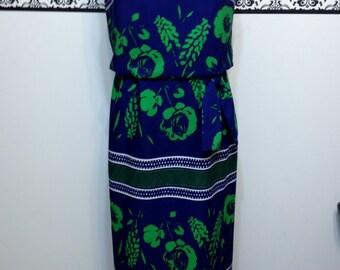 1960's Green and Blue Maxi Dress by Leslie Fay Knits, Vintage Mod Hawaiian Dress, Medium