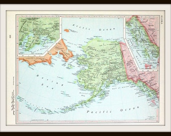 Alaska Map, 13 x 9, Large Collectible Vintage 1960's Map, Mid Century Historical Map, Ready to Frame
