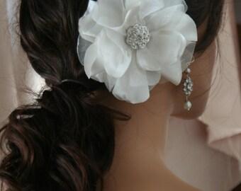 Bridal flower hair accessories Bridal headpiece Bridal fascinator wedding hair accessories satin hair flower bridal accessory