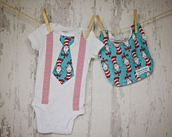 Dr. Seuss/Baby Boy Tie Suspender Onesie Bodysuit and Bib /Daycare Outfit/Dr. Seuss Birthday/Trendy/Photo Prop/Little Man/Shower Gift