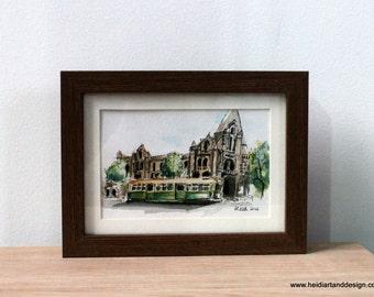 Melbourne Tram, watercolour