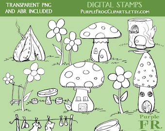 TINY HOUSES - Digital Stamp Set. 11 images, 300 dpi. jpeg, png files. Instant download.