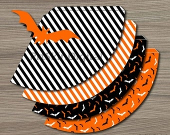 Halloween Party Hat in Black and Orange Bats & Stripes designs - DIY Printable Party Hat - INSTANT DOWNLOAD
