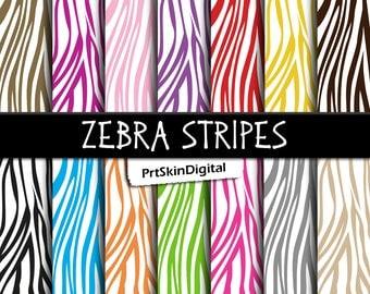 "Zebra Digital Paper ""Zebra Stripes"" with 14 Zebra Print Backgrounds in Rainbow Colors, Rainbow Digital Paper, Zebra Party Decorations"