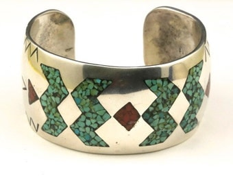 Vintage Inlaid Crushed Turquoise & Coral Navajo Sterling Silver Cuff Bracelet / Native American Jewelry / Southwestern