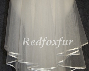 Wedding Veils Two Tier Elbow length Bridal Veil trimmed with Satin Elbow Length ivory wedding veil ivory wedding veil  Ribbon Edge veil