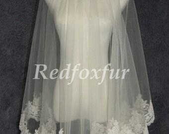 White or ivory Bridal Veil 1T Lace edge veil Alencon lace veil 1.5m Chapel veil Wedding dress veil Wedding Accessories No comb