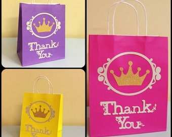Disney Princess Gift Bags - Princess Gift Bags - Crown Gift bags - Princess Birthday - Princess party supply - 10 Per Pack - Handmade