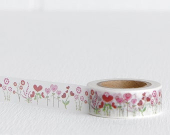 Pink and Green Heart Flower Washi Tape, Love, Romantic, 15mm