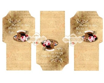 TEA APHORISM - Printable Download Digital Collage Sheet Tea Bag Holder Envelopes - Paper Cut Template