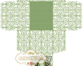 CAMEO  MINT  -  Printable Download Digital Collage Sheet Gift Box ChikUna Art Paper Craft Scrapbook DIY Creat - Print and Cut