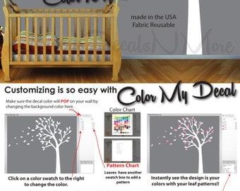Blowing Tree Wall Decal, Bedroom, Nursery Wall decals Wall Stickers Vinyl Art (Blowing Tree Purple Gray) BTO