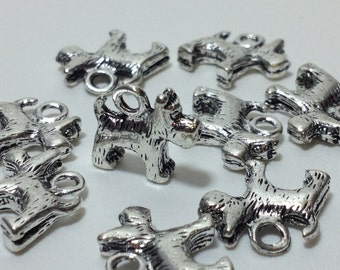 10 Antique Silver Plated Style Dog Charms Alloy 15mm