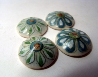 Handpainted ceramic mosaic tiles or cabochons from Mexico - 15 pieces