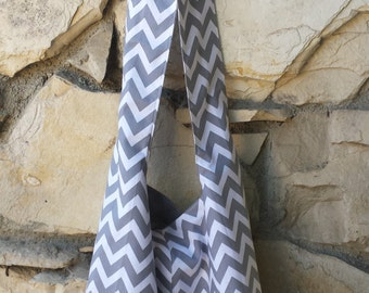 Chevron Hobo Bag. This across the body hobo is available in gray and white, or black and white.