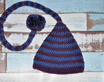 Crochet Baby Hat - Purple and Blue - Elf Hat