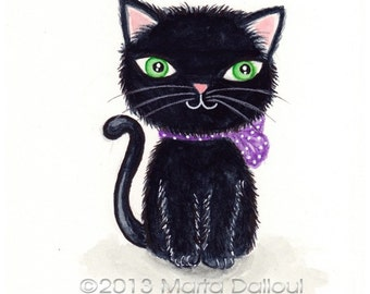 Black Cat art print. Black cat watercolor painting. Black kitty illustration. Nursery wall art decor. Whimsical cat art. Halloween cat decor